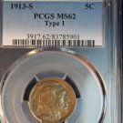1913-S 5C Buffalo Nickel - Type 1 - PCGS Graded MS62 - Nice problem Free