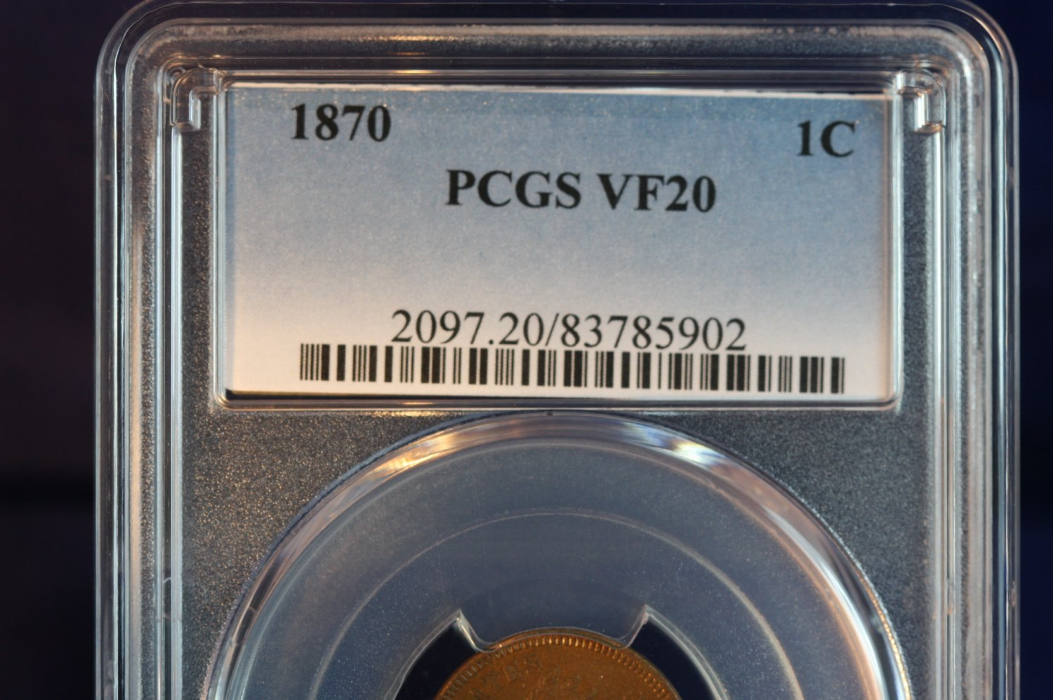 1870 1C Indian Head Penny - PCGS Graded VF20 - Early Date Cents -