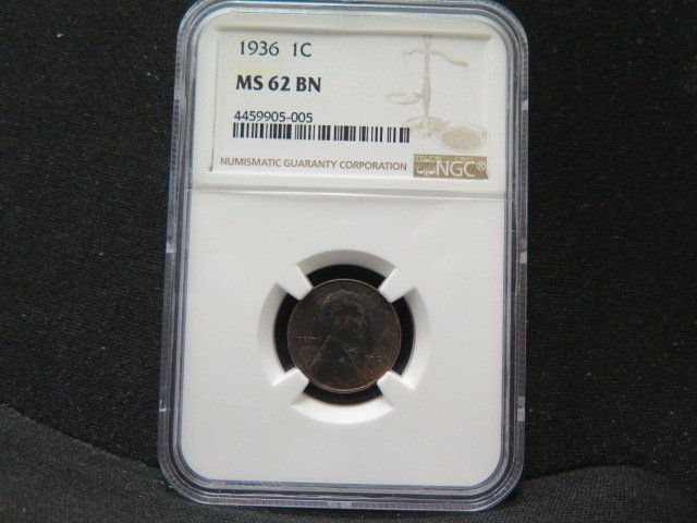 1936 1C Lincoln Wheat Penny. Choice Bold Strike.  NGC Graded MS62 Brown.