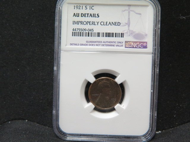 1921-S 1C Lincoln Wheat Penny. NGC Certified, AU Details.