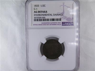 1833 Halve Cent. NGC Certified AG Details. Environmental Damage. Early Type Coin
