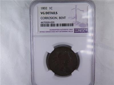 1802 1C Draped Bust Large Cent. NGC Certified. VG Details, Corrosion, Bent.