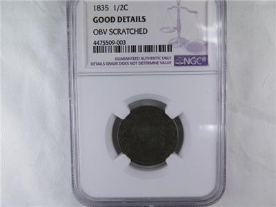 1835 Halve Cent. NGC Certified Good Details. Obverse Scratched. Coin Store SALE.