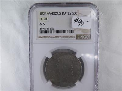1824 Capped Bust Half Dollar. Various Dates. O-103. NGC Certified G6. Large Sale