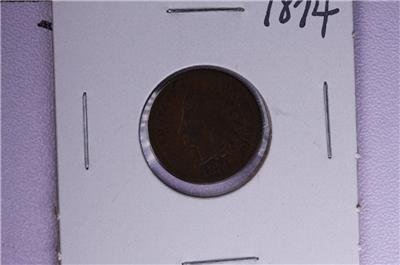 1874 1C. Indian Head Penny.  Good Circulated Condition. Coin Store Sale #1680