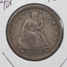 1854 25C Seated Liberty Quarter. Very Fine Plus Circulated Condition. Store #1758