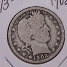 1902 25C Barber Silver Quarter. Nice Good Circulated Coin. #1796