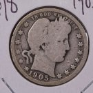 1905 25C Barber Silver Quarter. Good Circulated Coin. SALE#1802