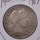 1907-O 25C Barber Silver Quarter. Choice Very Good Coin. Sale#1810
