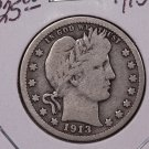 1913-D 25C Barber Silver Quarter. Very Good Circulated Condition. SALE#1828