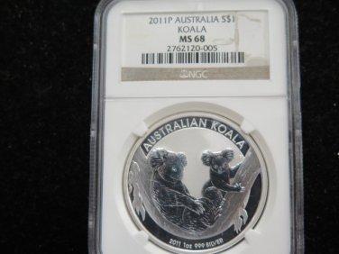 2011 Australia Koala. 1 Troy Ounce Pure Silver. NGC Graded MS68