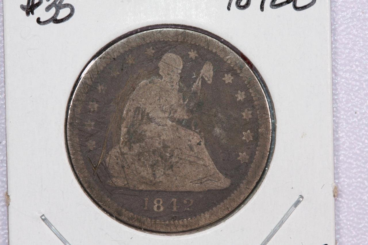 1842-O 25C Liberty Seated Quarter, Very Good Obverse. Circulated.  Store #2289