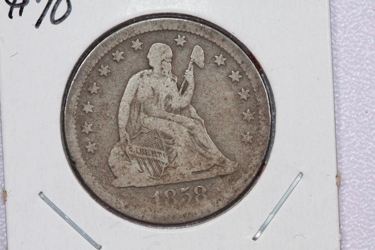 1858-O 25C Liberty Seated Quarter, Fine Circulated Coin. Store Sale. #2329