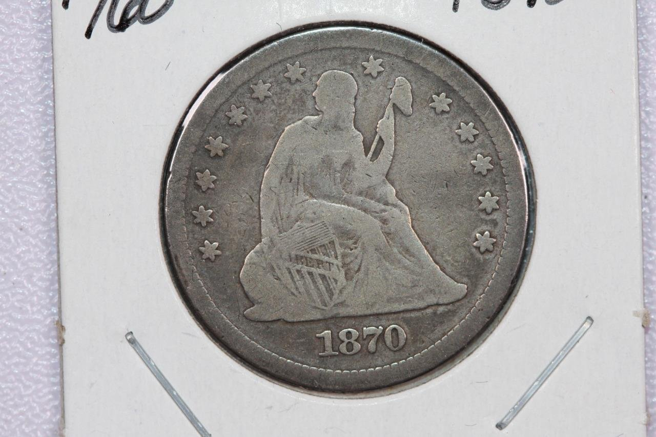 1870 25C Liberty Seated Quarter, Rare Date, Fine +. Circulated Coin, Store #2351