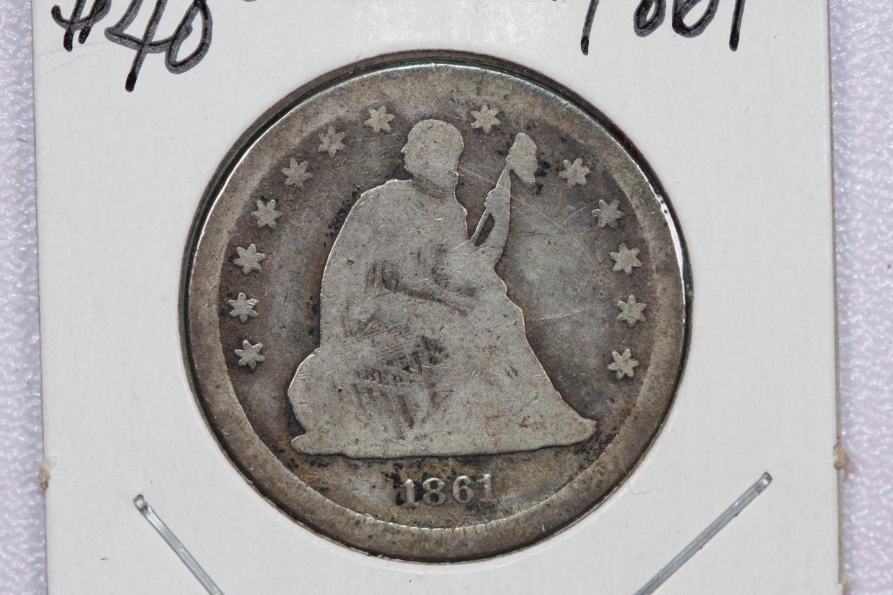 1861 25C Liberty Seated Quarter, Good Circulated Condition, Store Sale.#2341