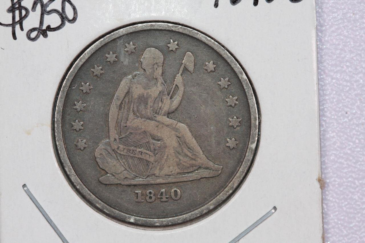 1840-O 25C Liberty Seated Quarter, Very Fine Details. Rim Nicks. Store #2287