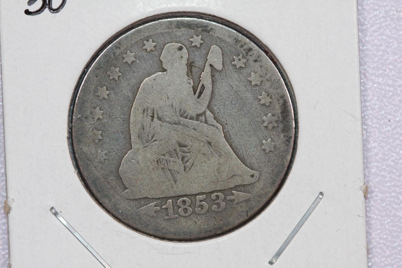 1853-O 25C Liberty Seated Quarter,  Good Circulated Condition. Store Sale#2309