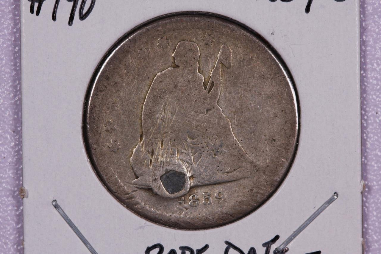 1859-S 25C Liberty Seated Quarter, RARE DATE, Holed and Pluged, Store Sale.#2335