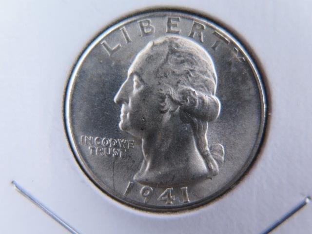 1941-D  25C Washington Silver Quarter. Gem Brilliant UN-Circulated. NICE #9524