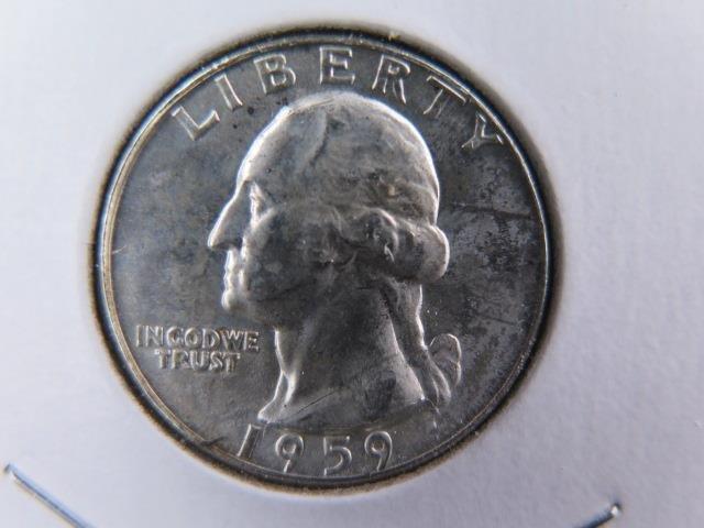 1959-D 25C Washington Silver Quarter. Gem Brilliant UN-Circulated. SALE  #9618