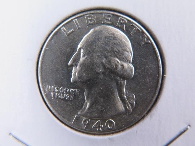 1940 25C Washington Silver Quarter. Gem Brilliant UN-Circulated. NICE COIN #9504