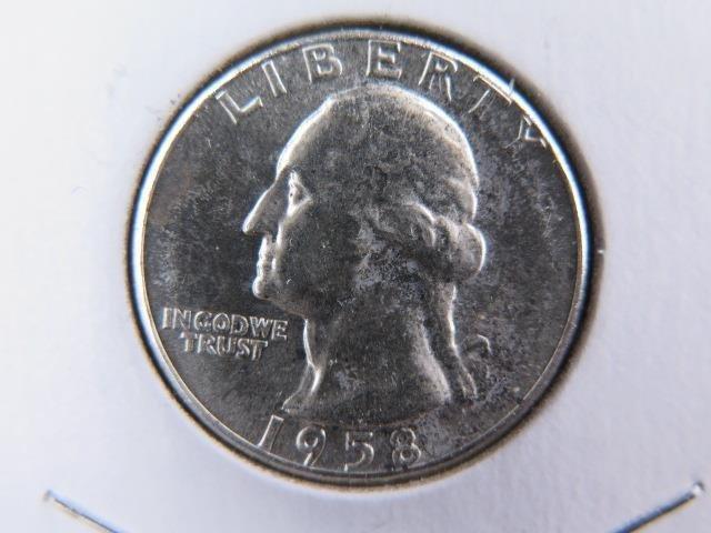 1958 25C Washington Silver Quarter. Gem Brilliant UN-Circulated. SALE  #9606