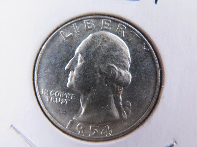 1954-D 25C Washington Silver Quarter. Gem Brilliant UN-Circulated. SALE  #9570