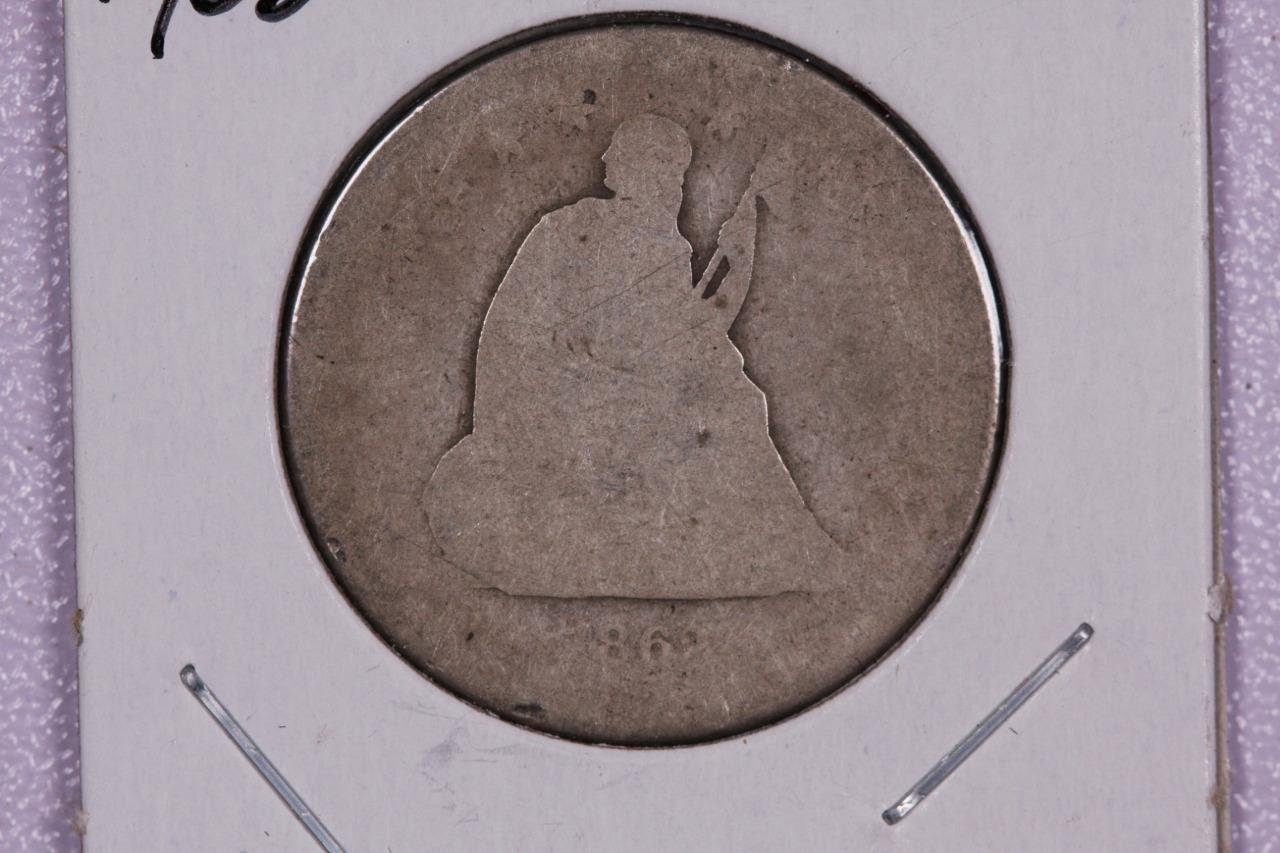 1862-S 25C Liberty Seated Quarter, Rare Date, Fair Circulated Coin, Store #2347