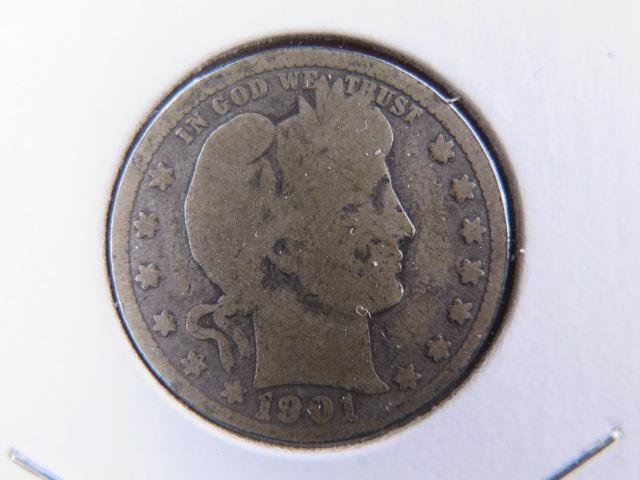 1901 25C Barber Silver Quarter. Good Circulated Condition. Store Sale #9454