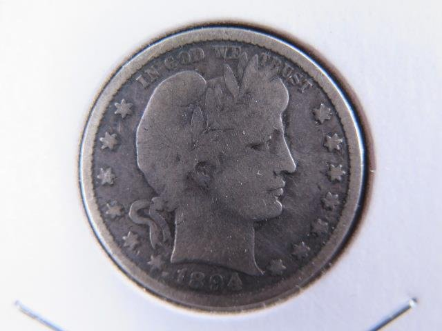 1894-O 25C Barber Silver Quarter. Good Circulated Condition. Store Sale #9426