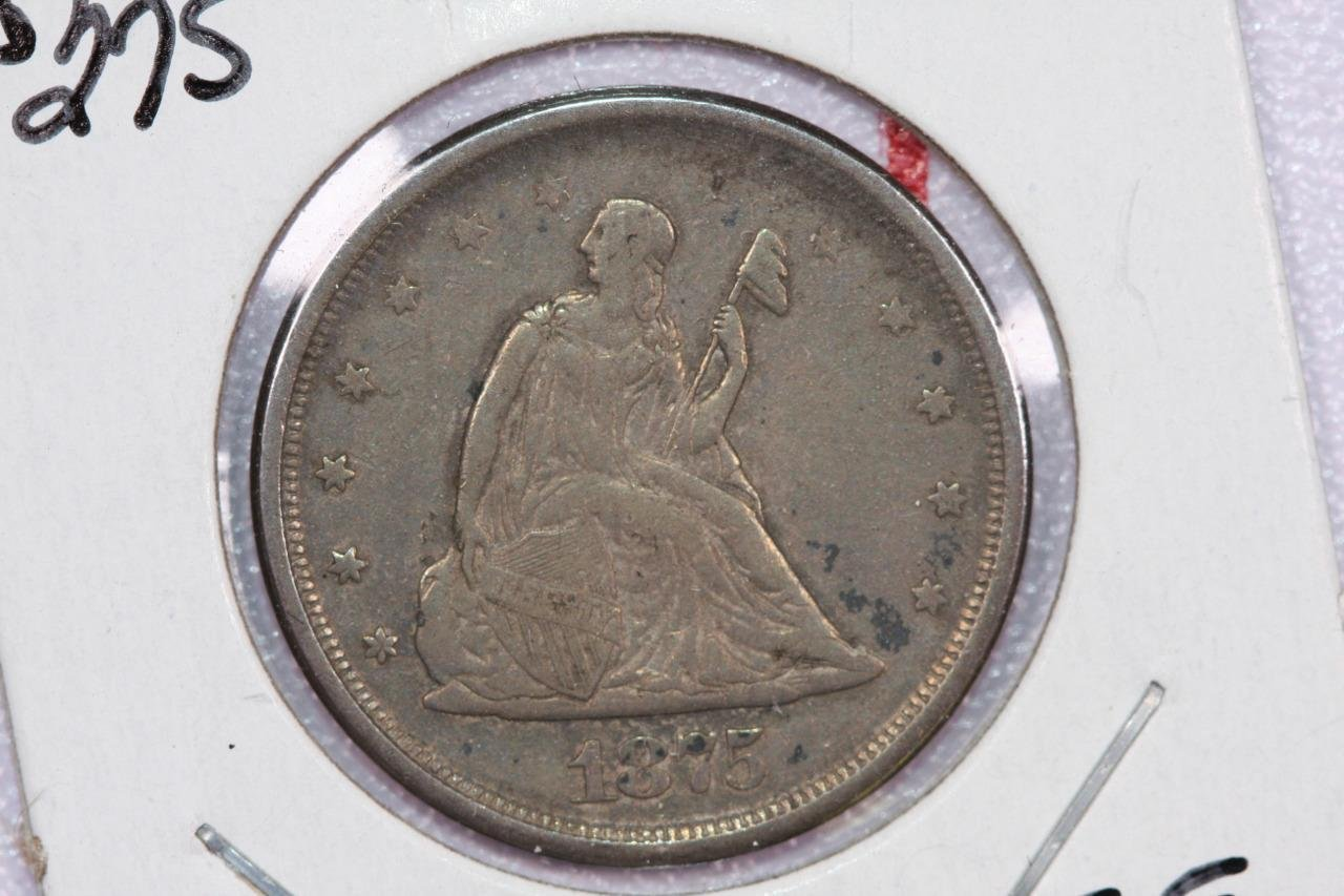 1875-S 20C Twenty Cent Piece. Very Good Circulated Coin. Large Store Sale #2259