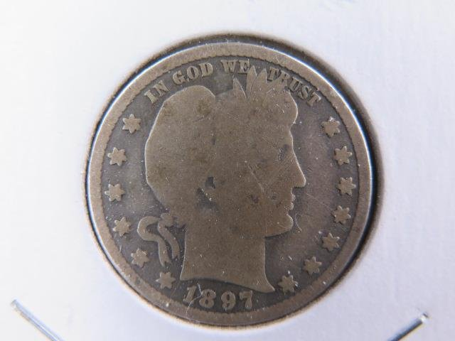 1897-O 25C Barber Silver Quarter. Good Circulated Condition. Store Sale #9440