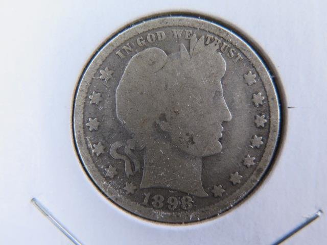 1898 25C Barber Silver Quarter. Good Circulated Condition. Store Sale #9442