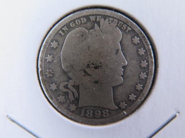 1898-O 25C Barber Silver Quarter. Good Circulated Condition. Store Sale #9446