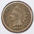 1863 1C Indian Head Cents. Nice Very Good Circulated Condition. SALE #2485