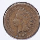 1864 1C Indian Head Cents, Bronze, Very Good Circulated Coin. SALE #2493