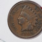 1904 1C Indiain Head Cents. Choice Very Good Circulated Coin. Super Sale #2655