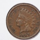 1907 1C Indiain Head Cents. Choice Very Good Circulated Coin. Super Sale #2665