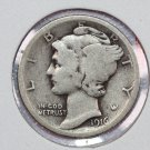 1916 10C Mercury Silver Dime. Good Circulated Condition. Store Sale #2681