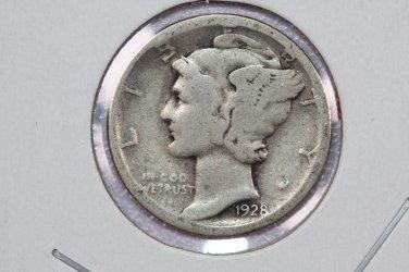 1928-S 10C Mercury Silver Dime. Good Circulated Condition. SALE #2745