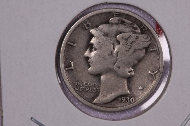1930 10C Mercury Silver Dime. Good Circulated Coin. STORE #2755