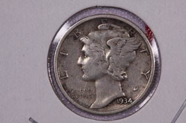 1934 10C Mercury Silver Dime. Good Circulated Coin. STORE #2763