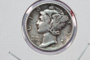 1936-D 10C Mercury Silver Dime. Good Circulated Coin. SALE#2775