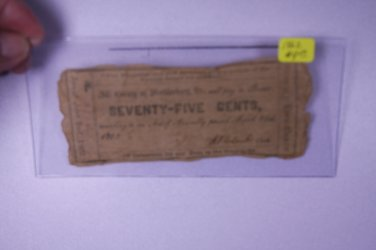 1862 The County Of Mecklenburg, Va, Receivable For any Dues to the County. Seventy Five Cents.