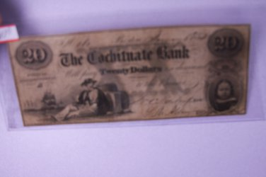 1853 $20 The Cochituate Bank, Obsolete Currency.