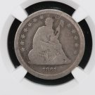 "1861 Seated Liberty Quarter.  ""Civil War Coinage"". Problem Free.  NGC Good 6. Nice Coin."