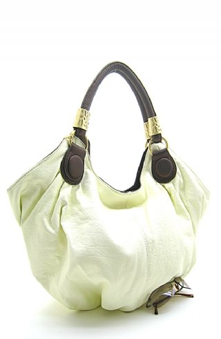 Fabulous Ivory Handbag w/Brown Accents