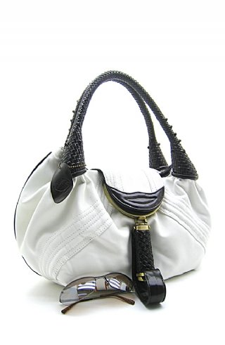 Fun White Handbag w/Brown Handles