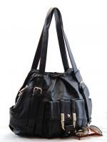 Fun Black Handbag with Tall Handles