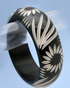 Fun Tribal Black/Khaki Bangle Bracelet